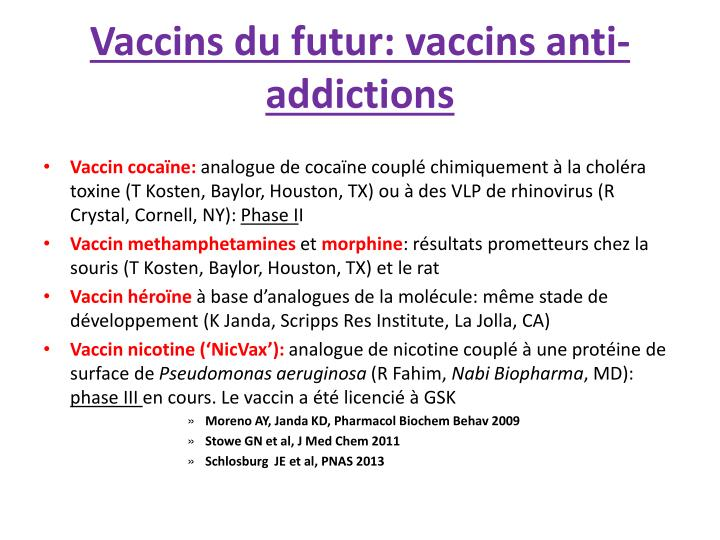 Vaccins du futur: vaccins anti-addictions