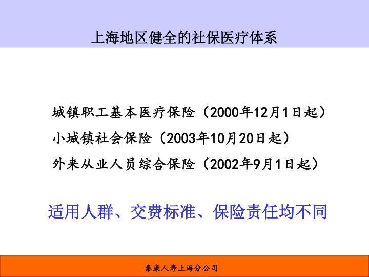 上海地区健全的社保医疗体系