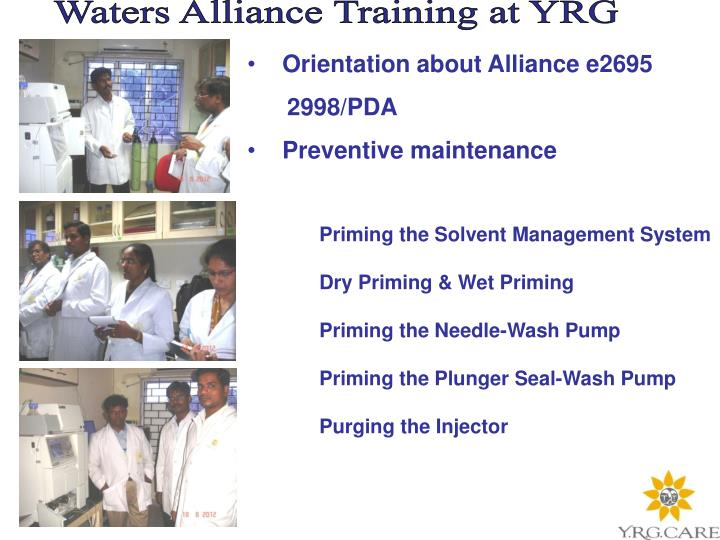 Waters Alliance Training at YRG