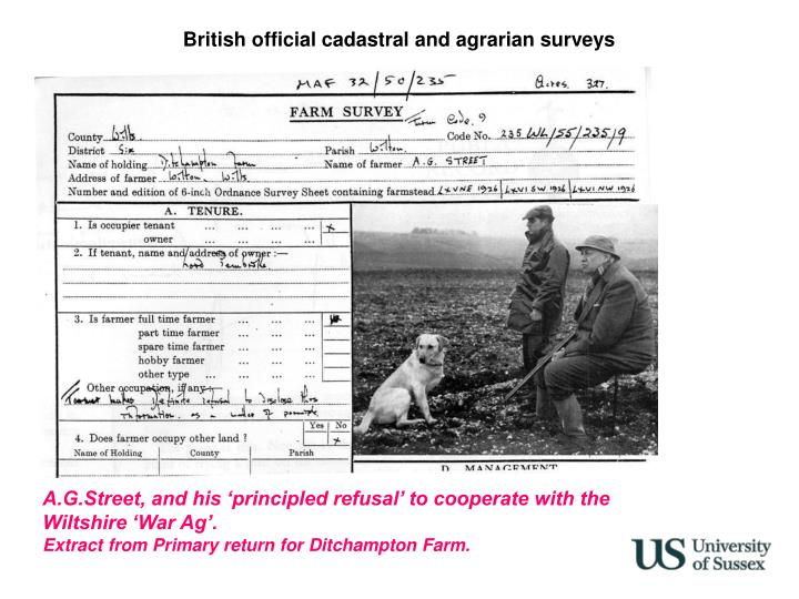 British official cadastral and agrarian surveys