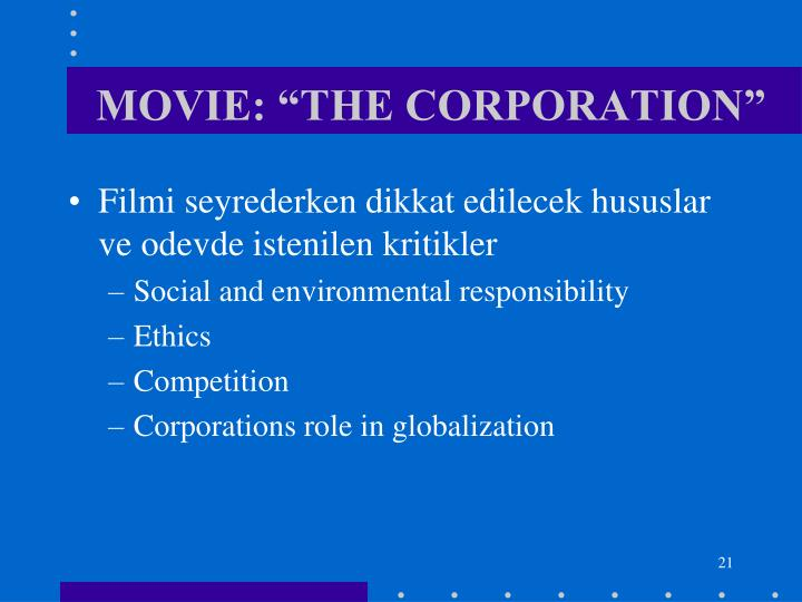"MOVIE: ""THE CORPORATION"""