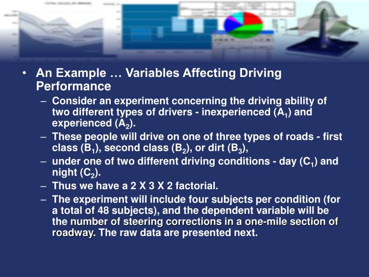 An Example … Variables Affecting Driving Performance