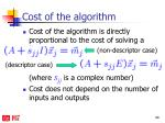 cost of the algorithm
