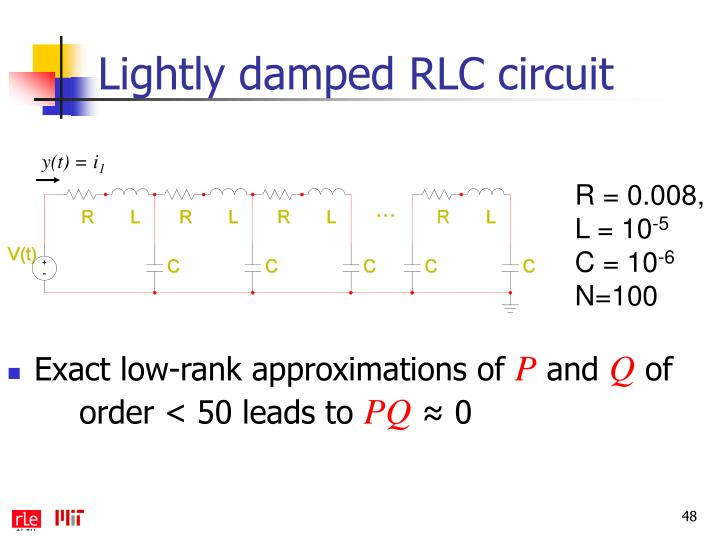 Lightly damped RLC circuit