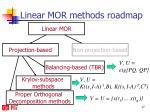 linear mor methods roadmap1