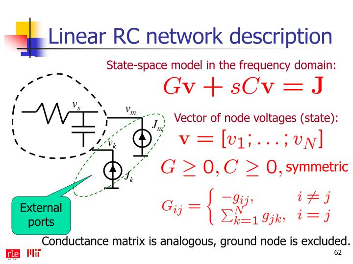 Linear RC network description