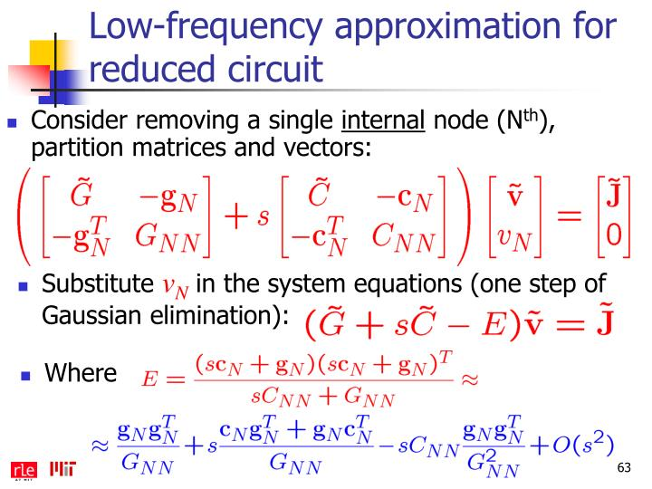 Low-frequency approximation for reduced circuit