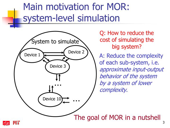 Main motivation for MOR: system-level simulation