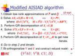 modified aisiad algorithm