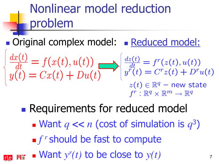 Nonlinear model reduction problem