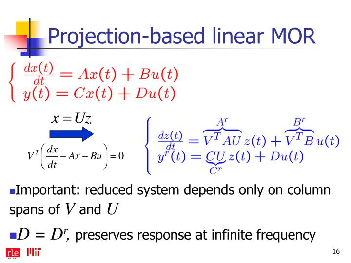 Projection-based linear MOR