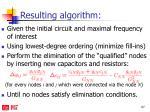 resulting algorithm