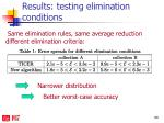 results testing elimination conditions