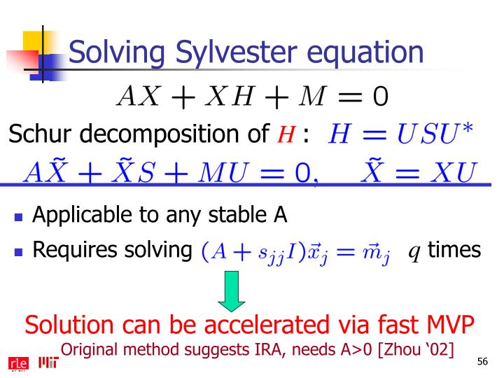 Solving Sylvester equation