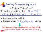 solving sylvester equation1