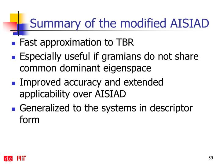 Summary of the modified AISIAD
