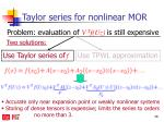 taylor series for nonlinear mor