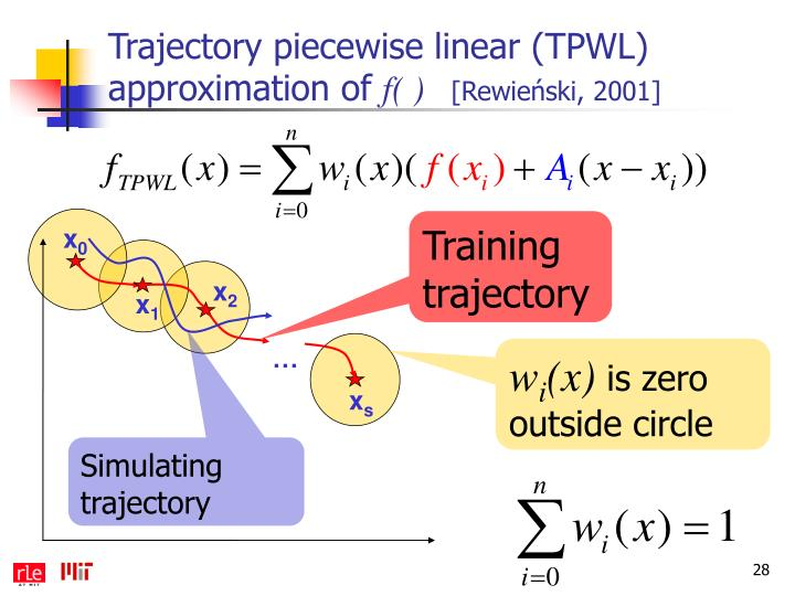Trajectory piecewise linear (TPWL) approximation of