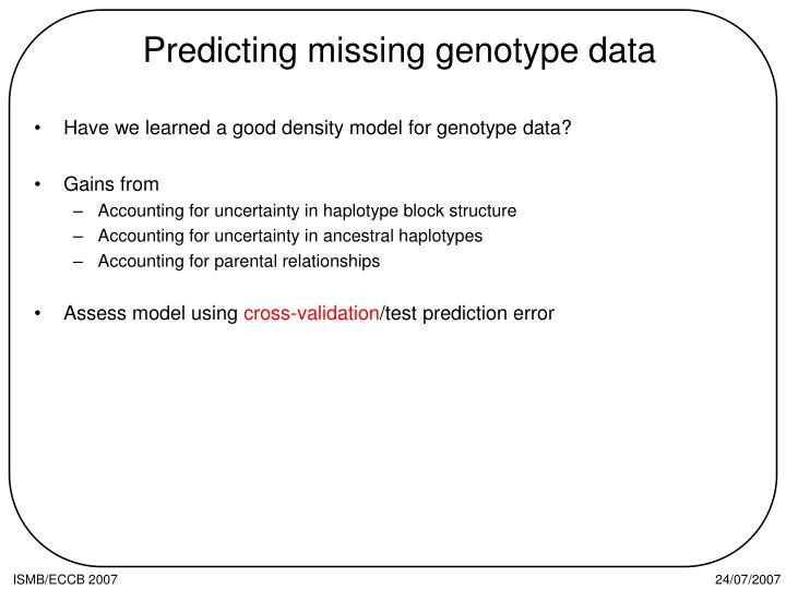 Predicting missing genotype data