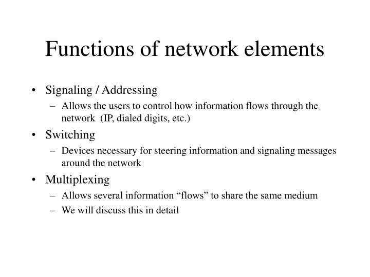 Functions of network elements