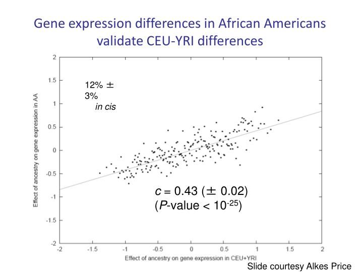 Gene expression differences in African Americans validate CEU-YRI differences
