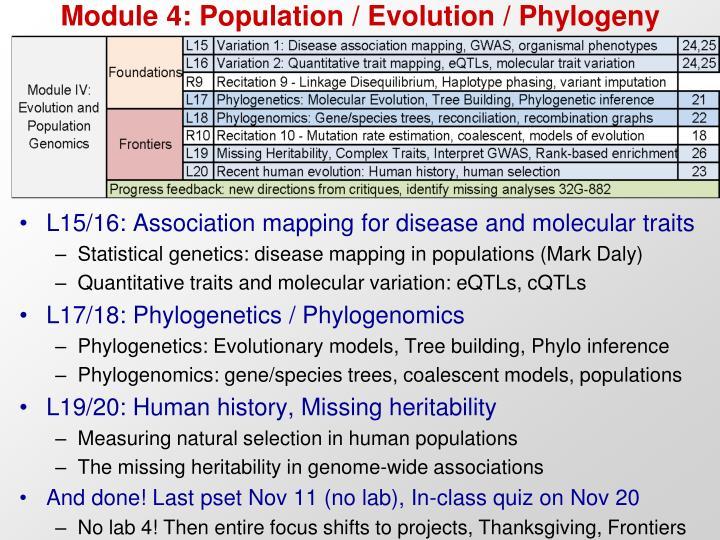 Module 4: Population / Evolution / Phylogeny