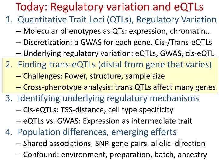 Today: Regulatory variation and