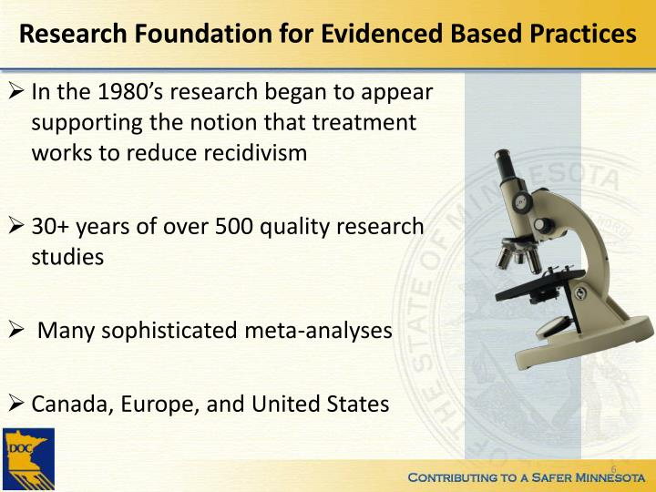 Research Foundation for Evidenced Based Practices