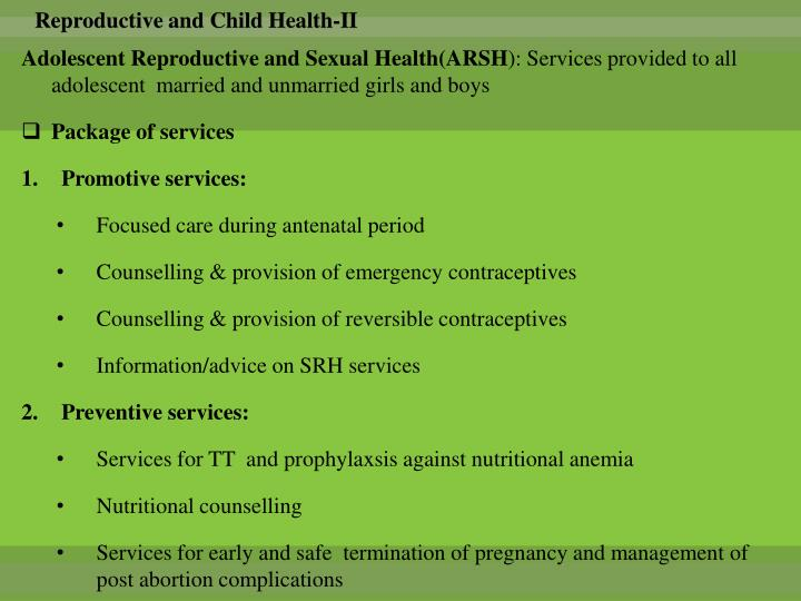 Reproductive and Child Health-II