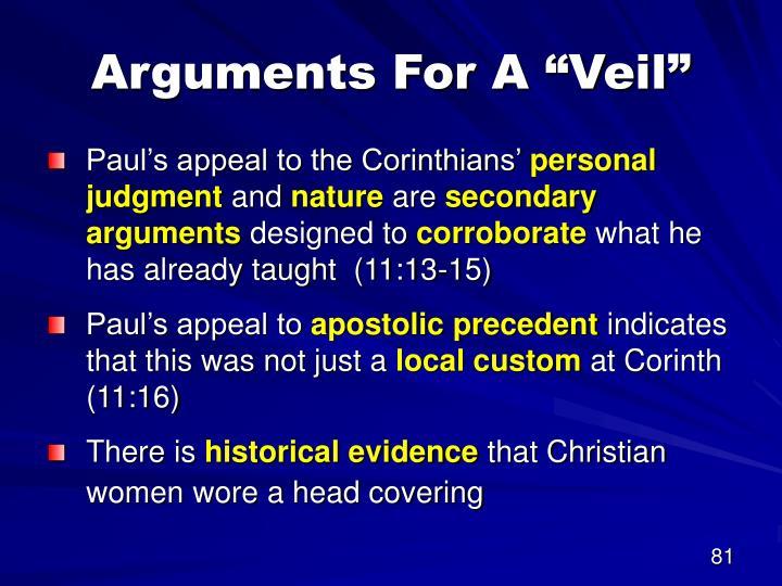 """Arguments For A """"Veil"""""""