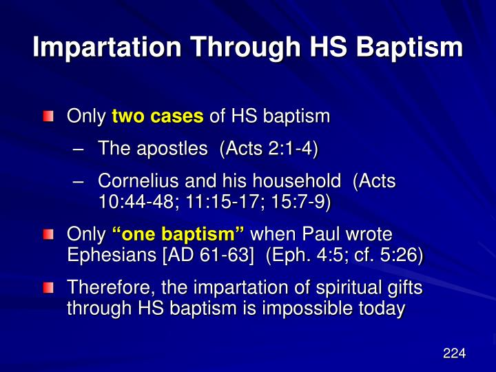 Impartation Through HS Baptism
