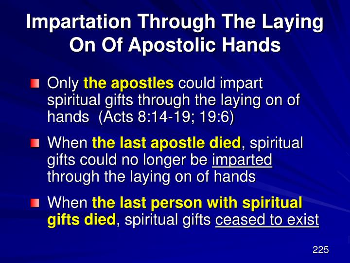 Impartation Through The Laying On Of Apostolic Hands