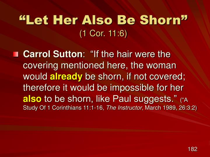"""""""Let Her Also Be Shorn"""""""