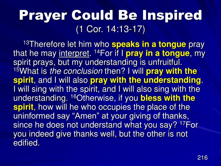 Prayer Could Be Inspired