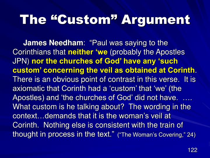 "The ""Custom"" Argument"