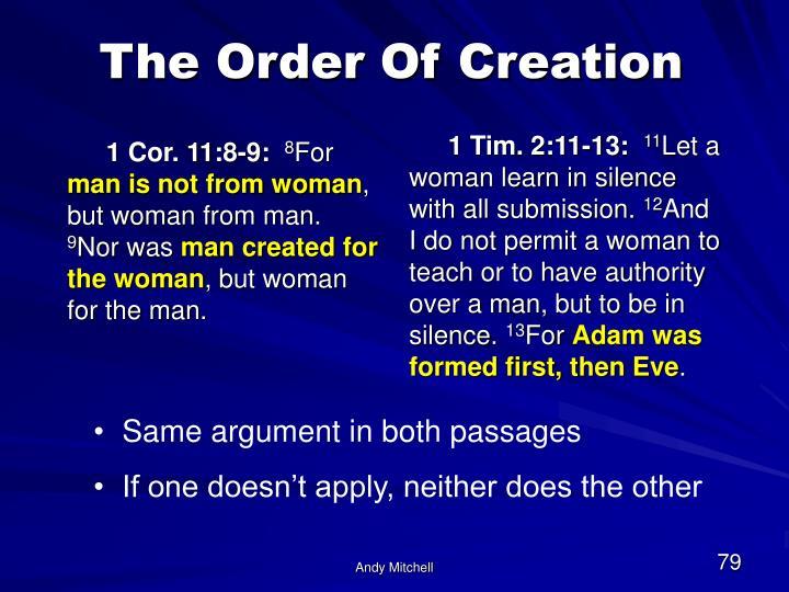 1 Cor. 11:8-9: