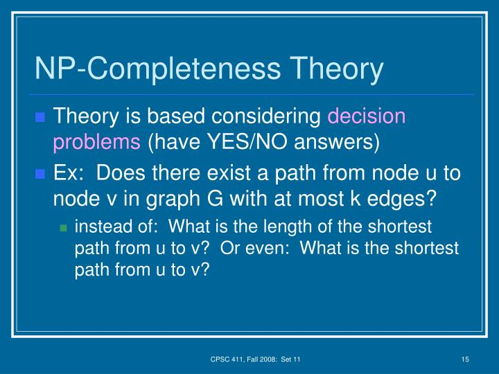NP-Completeness Theory