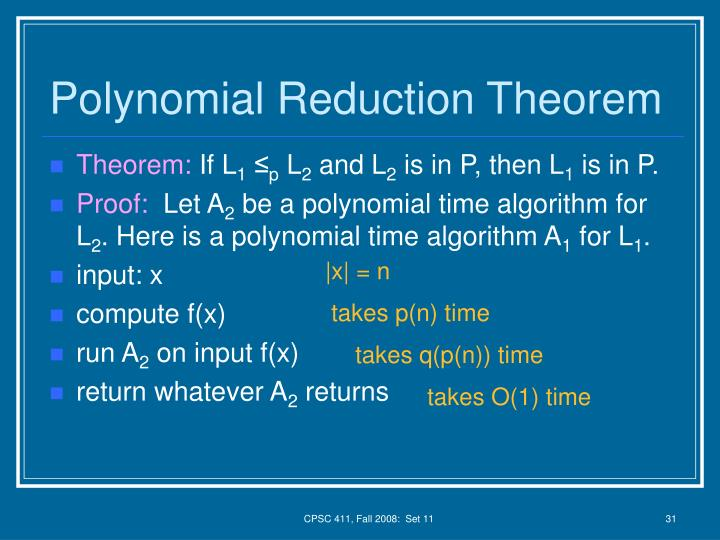 Polynomial Reduction Theorem