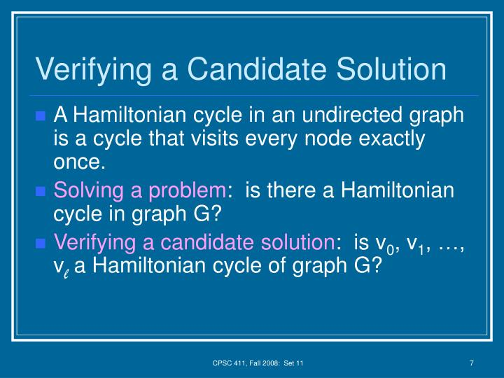 Verifying a Candidate Solution