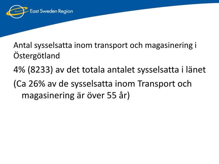 Antal sysselsatta inom transport och magasinering i stergtland
