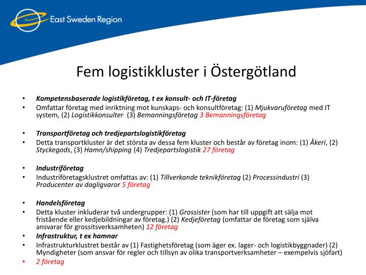Fem logistikkluster i Östergötland
