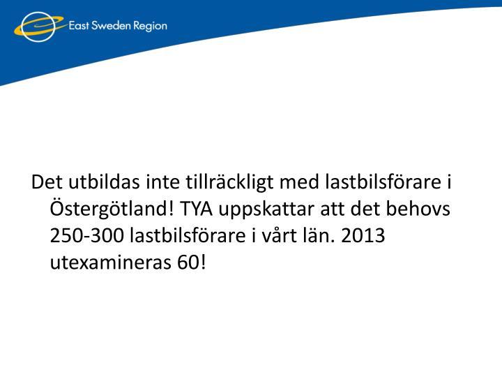 Det utbildas inte tillräckligt med lastbilsförare i Östergötland! TYA uppskattar att det behovs 250-300 lastbilsförare i vårt län. 2013 utexamineras 60!