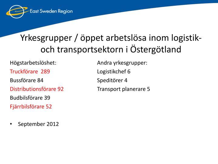 Yrkesgrupper / ppet arbetslsa inom logistik-  och transportsektorn i stergtland