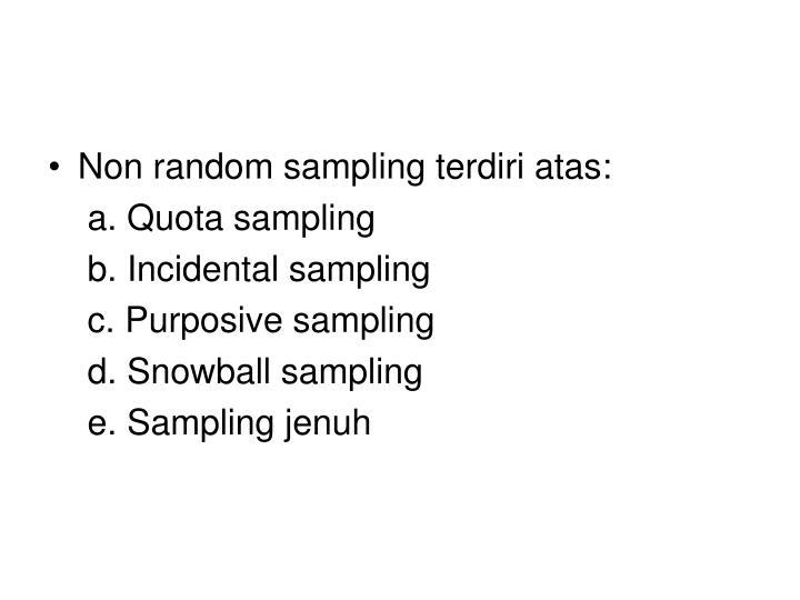 Non random sampling terdiri atas: