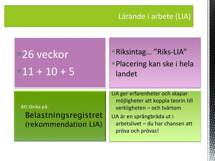 Lärande i arbete (LIA)