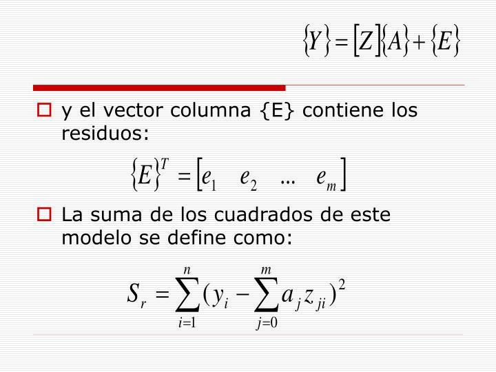 y el vector columna {E} contiene los residuos: