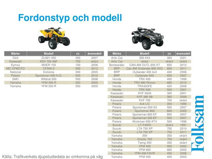 Fordonstyp och modell