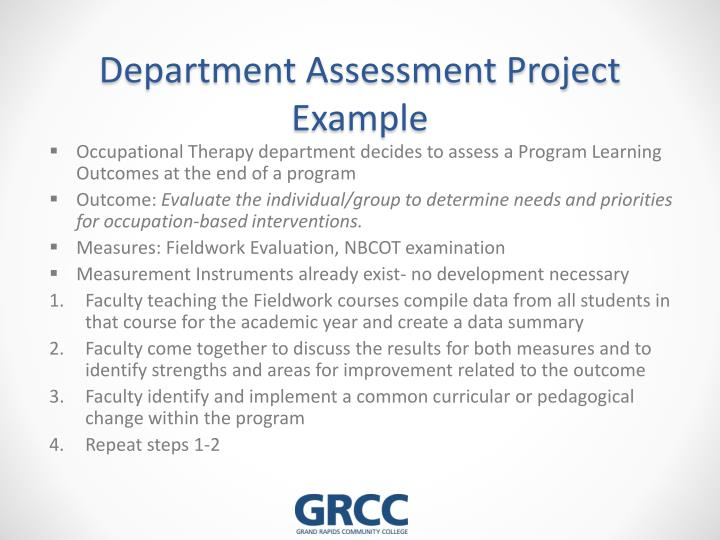 Department Assessment Project Example