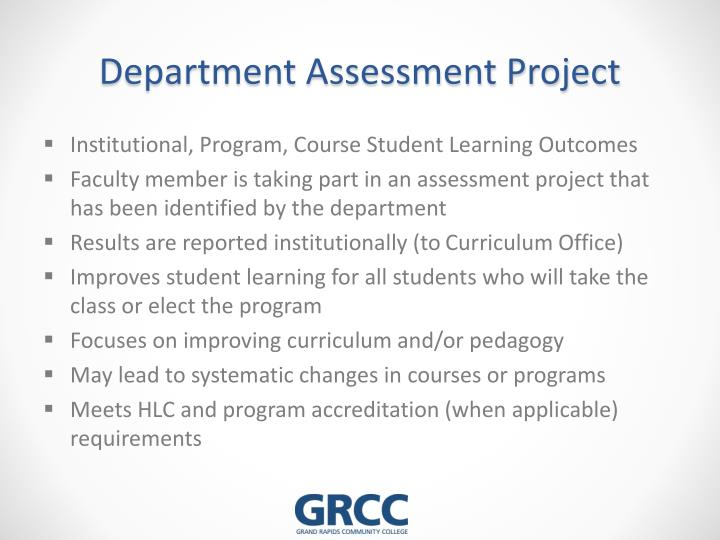 Department Assessment Project
