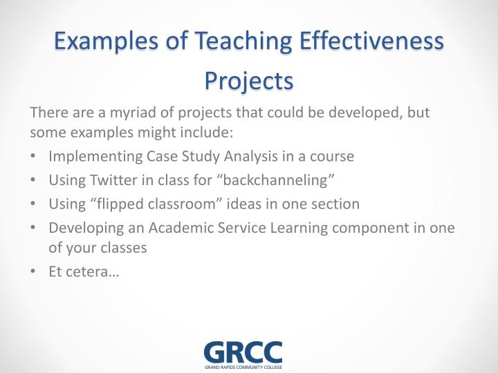 Examples of Teaching Effectiveness Projects